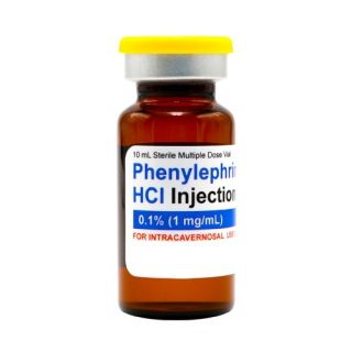 Phenylephrine HCl 0.1% injectable, 2mL
